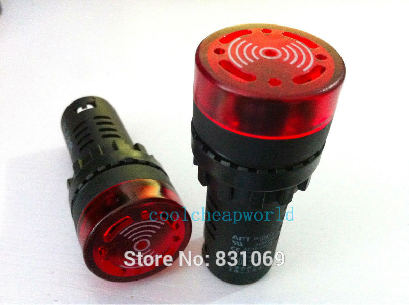 5PCS/Lot  AC DC24V 22mm Red LED Indicator Light with Buzzer Brand New