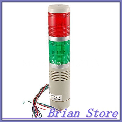 R/G Flash LED Industrial Signal Tower Warn Alarm Indicator Light DC 24V 90dB