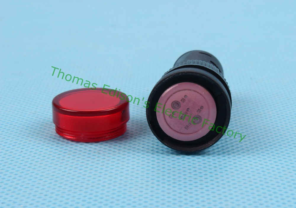 20pcs/lot LED power indicator lamp diameter 16mm AD16-16C LED signal light DC 24V Red