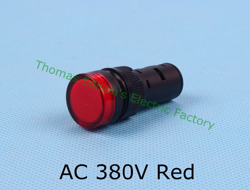 AC 380V 16mm LED Indicator Signal Light indicator lamp AD16-16C Red 20pcs/lot