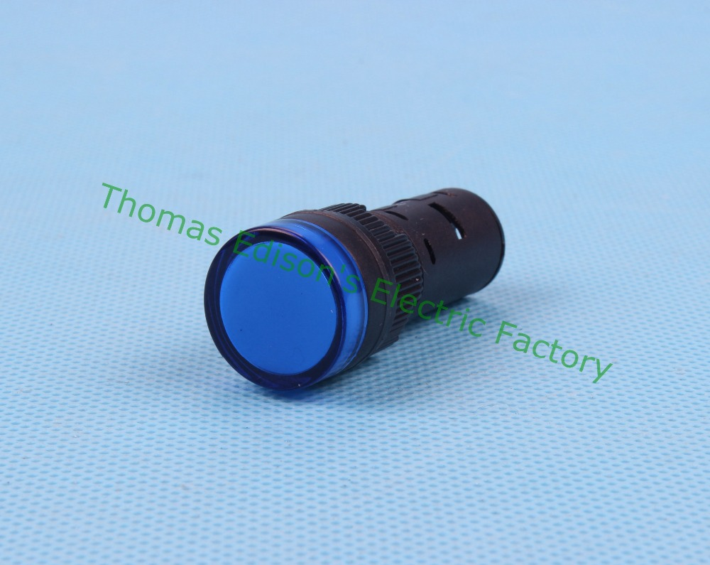 20pcs/lot LED power indicator lamp diameter 16mm AD16-16C LED signal light DC 24V Blue