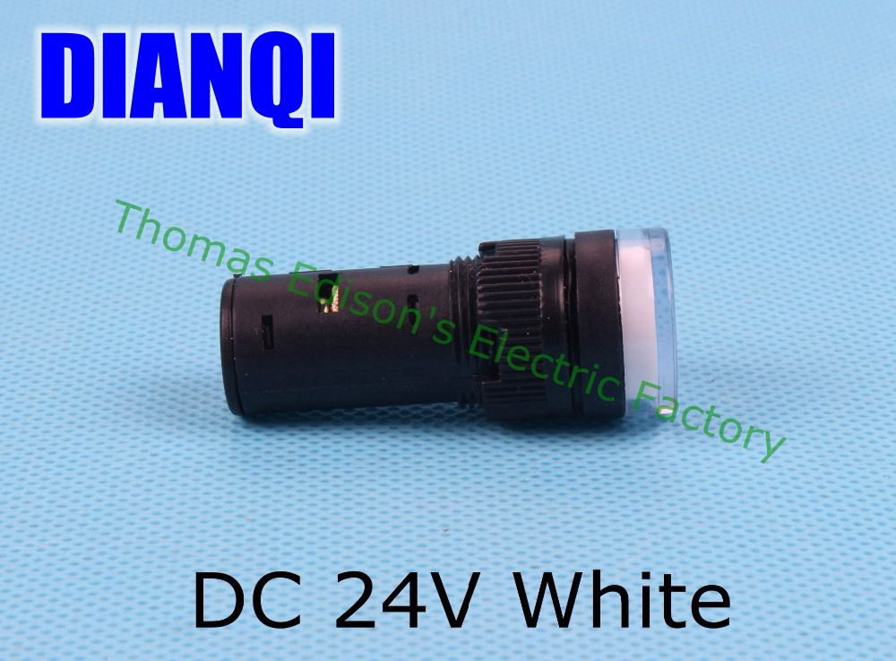 20pcs/lot LED power indicator lamp diameter 16mm AD16-16C LED signal light DC 24V White