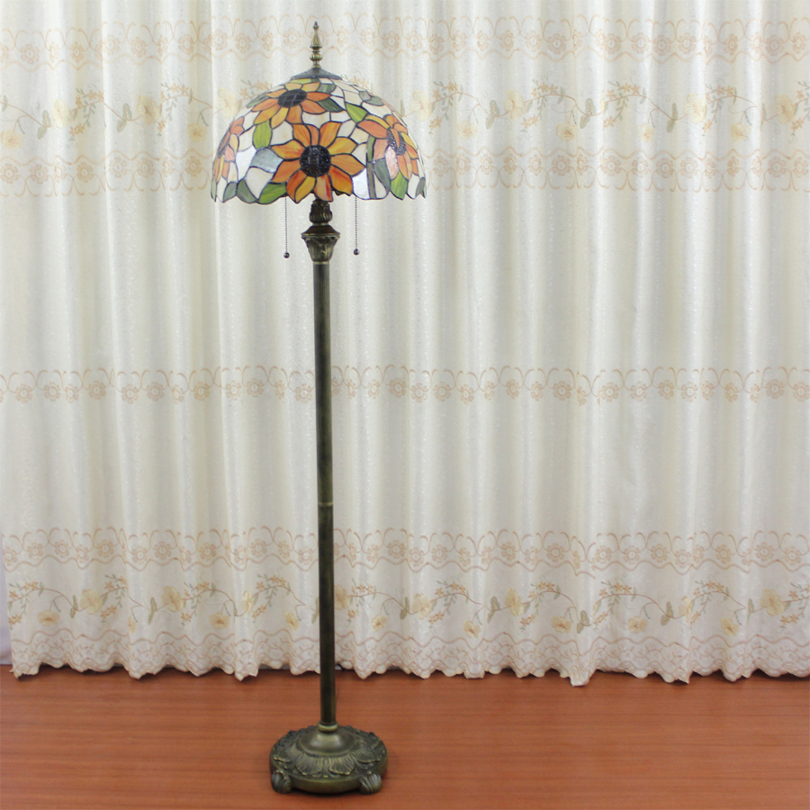 160CM European retro high - grade Tiffany floor lamps home decorations lights sunflower stained glass floor lamps