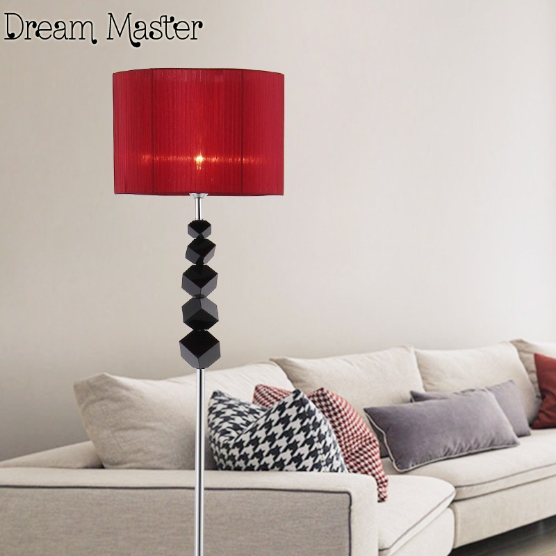 European style post-modern simple fashion personalized floor lamp living room bedroom bedside study vertical crystal floor lamp