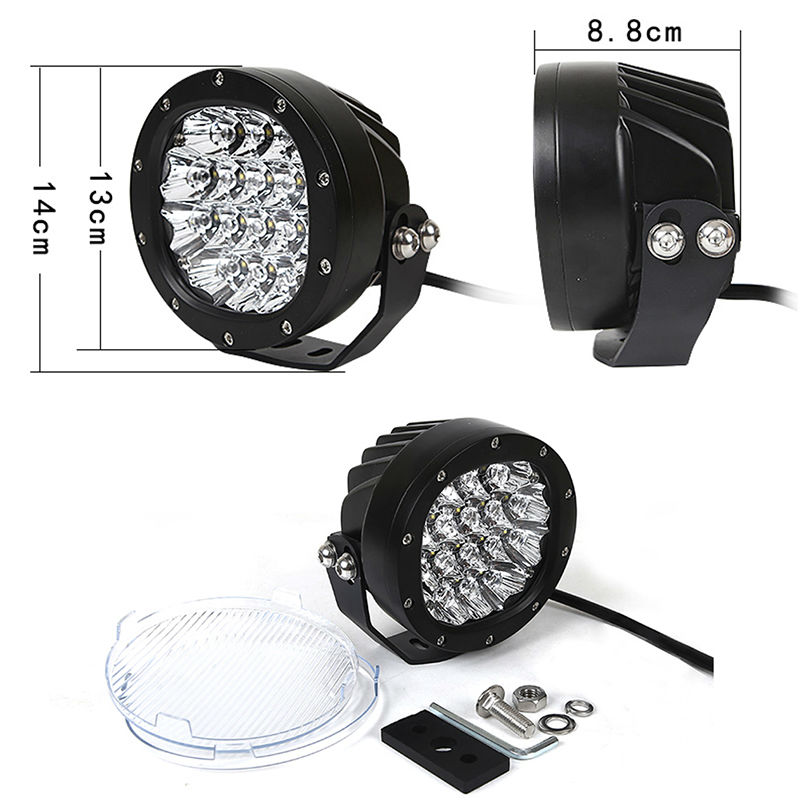 2pcs 80W 5inch Led Work Light Round Led Driving Lamps with Spot and Flood Cover Off Road Fog Bulb for Offroad Tractor 4WD ATV