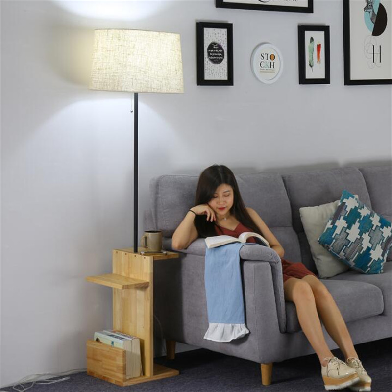 NEW Modern Simple Wood Fabric Led E27 Floor Lamp with Tray Shelf for Living Room Bedroom Study H 160cm 80-265V 1566