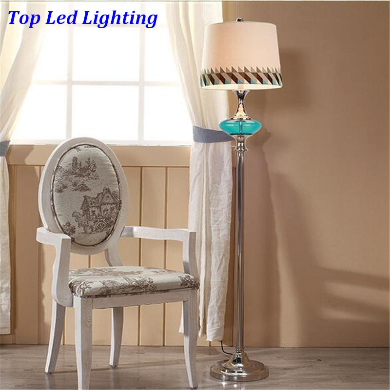 Mediterranean Sea Sky Blue Crystal Glass Fabric PVC Led E27 Floor Lamp for Wedding Decor Bedroom Living Room AC 80-265V 1203