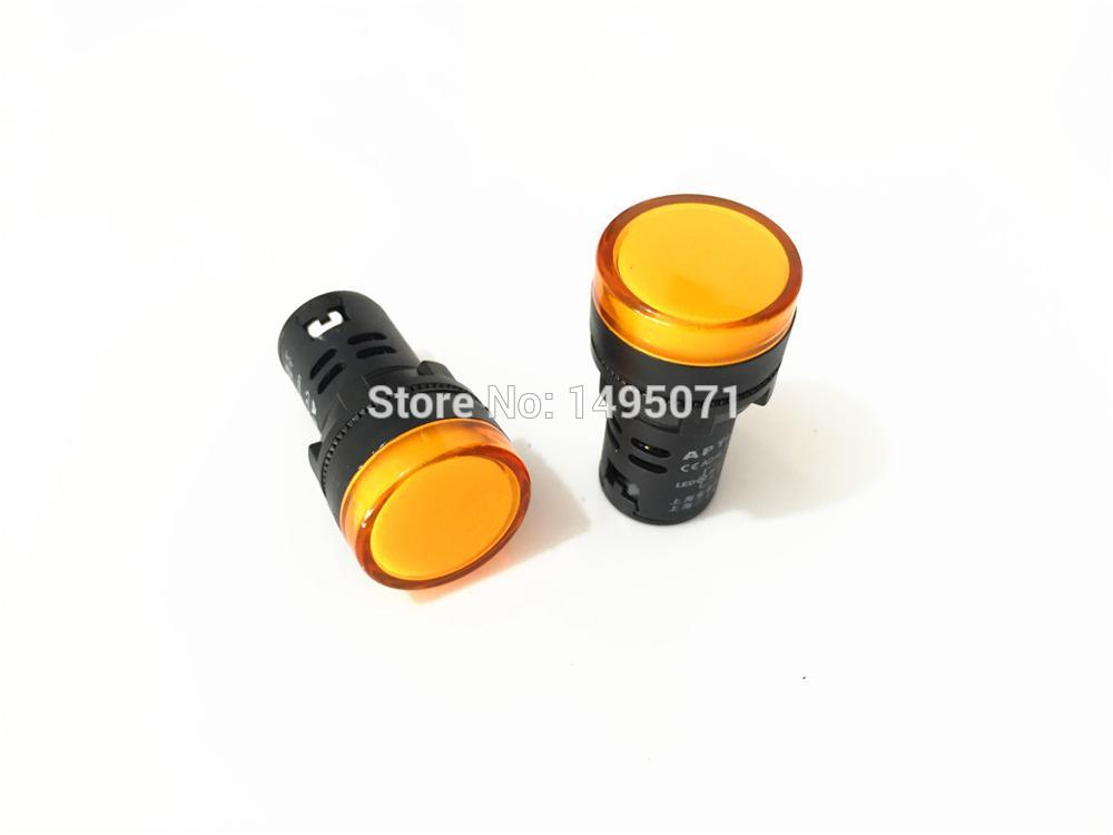 10pcs AC/DC 24V 22mm Mount Size Yellow LED Power Indicator Signal Light Pilot Lamp AD16-22D/S