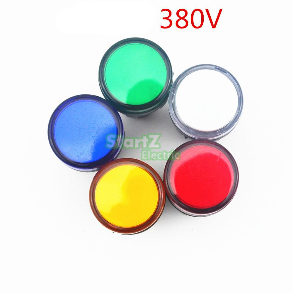 5PCS AC/DC 380V 22mm  Thread LED for Electronic Indicator Signal Light Five color optional ,default red AD16-22