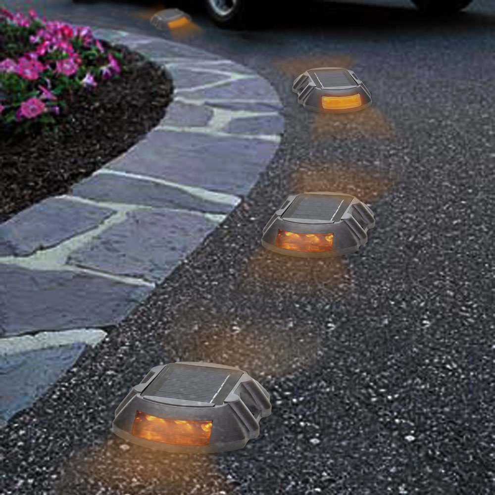 6 LED Waterproof Floor Lamp Solar Lamp - Yellow