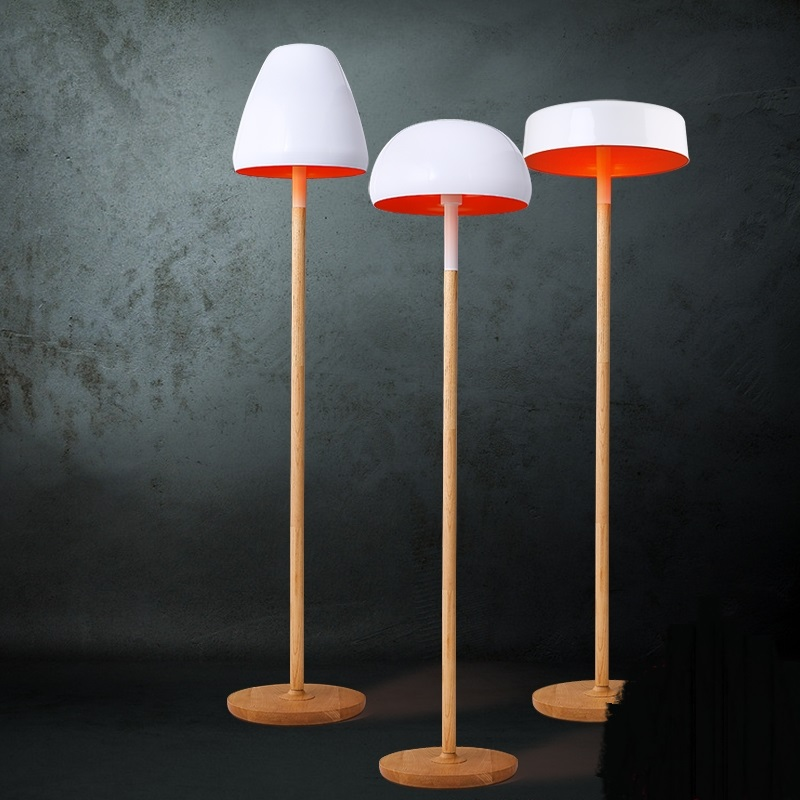 Nordic white floor lamp solid wood floor lamps living room bedroom floor light bar decoration mushroom lamp ZA81588