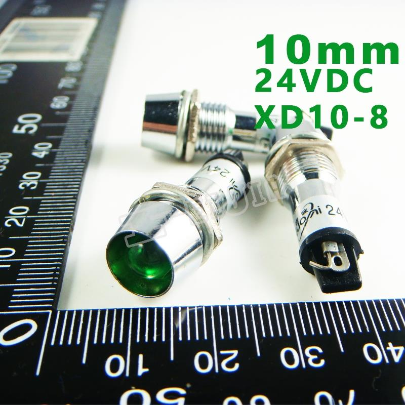 10mm 24VDC Green Signal led Lndicator lights Green Pilot lamp XD10-8-24V 10PCS/Lot