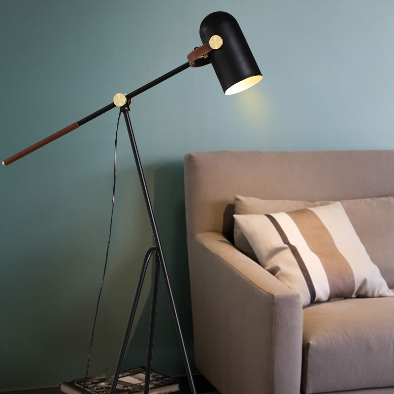 Nordic iron floor lamp creative design living room bedroom bedside study led adjustable black floor lights ZA