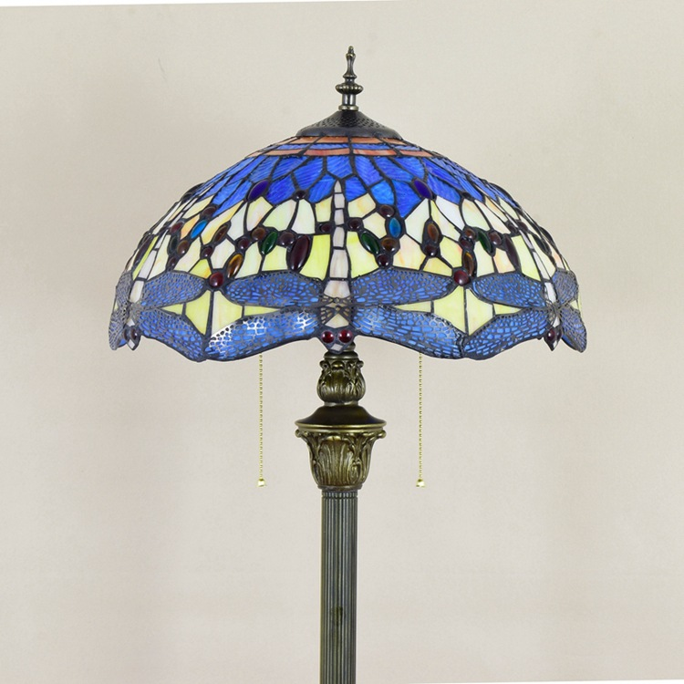 European art blue dragonfly lamp American retro stained glass Tiffany Floor Lamps personality Living room, dining room, bedroom
