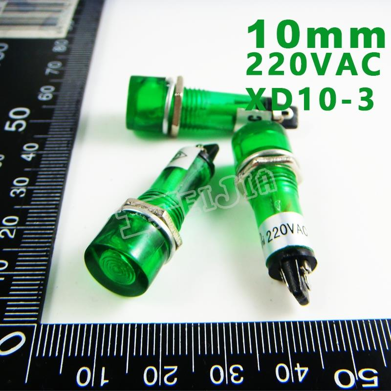 10mm 220VAC Green Signal led Lndicator lights Green Pilot lamp XD10-3-220V 10PCS/Lot