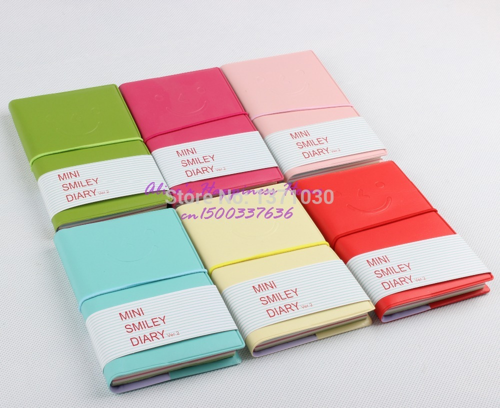 High Quality Mini Smiley Diary Notebook Memo Book leather Note Pads Stationery Pocketbook