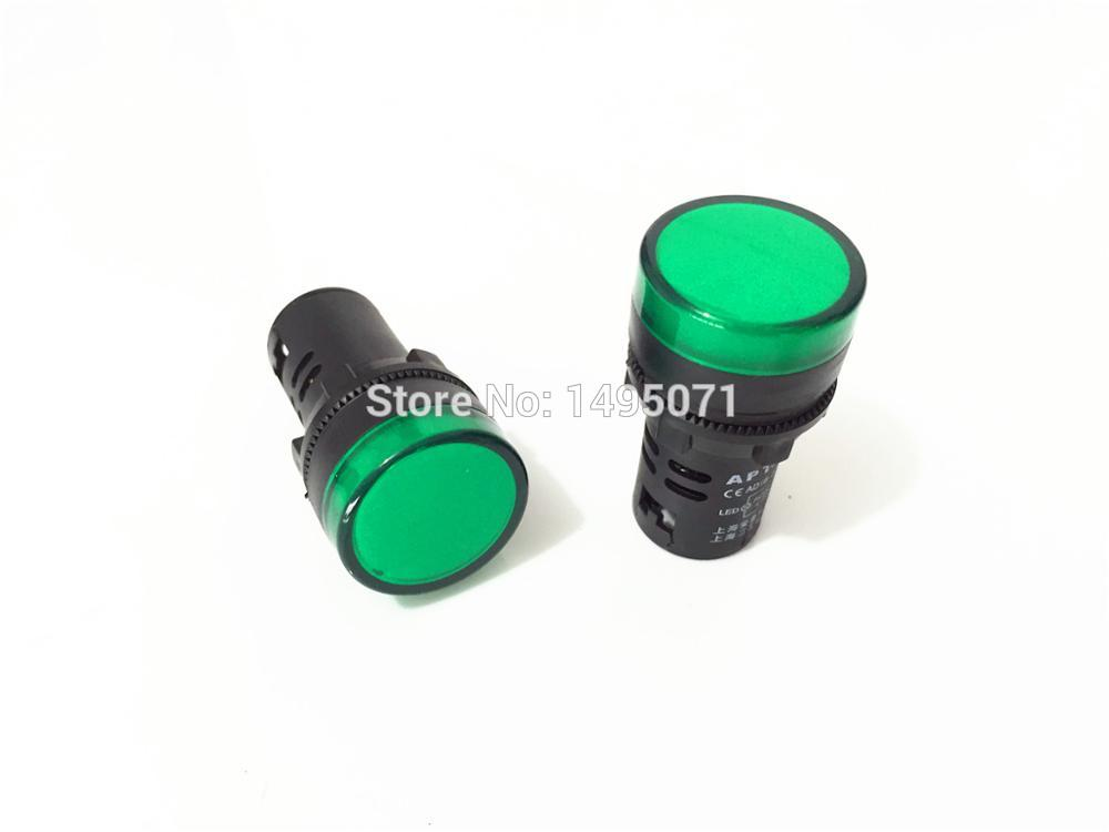 5pcs AC/DC 12V 22mm Mount Green LED Power Indicator Signal Light Pilot Lamp AD16-22D/S