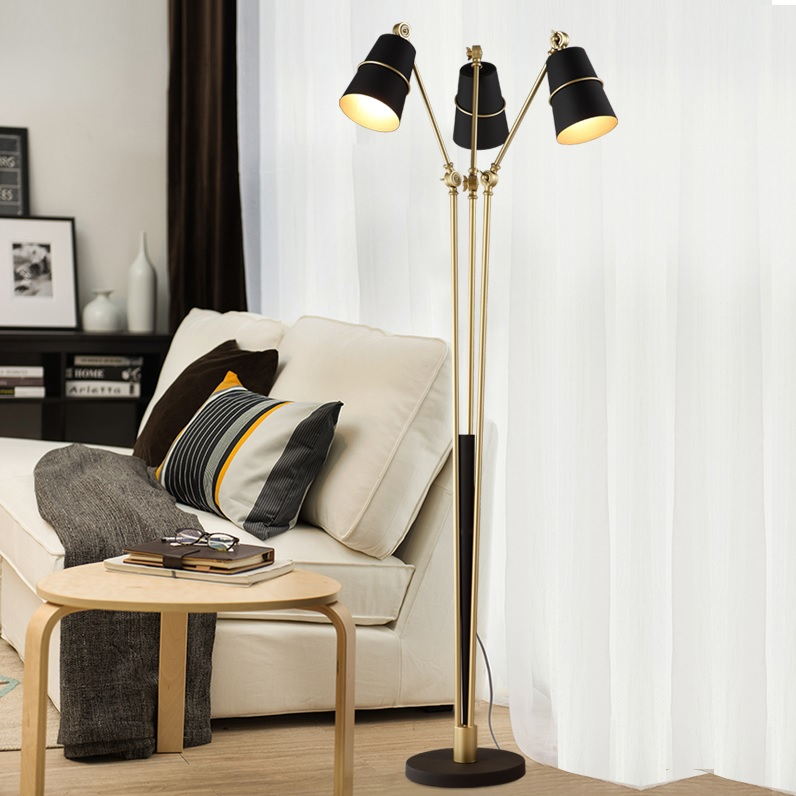 Task Floor Lamp with 3 Lights in Golden/Rose Golden Rod and Polished Metal Base