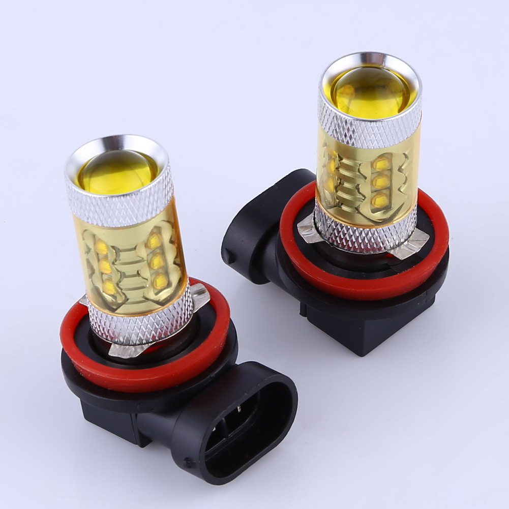 2pcs 80w H11 Universal Car High Power LED Fog Light Yellow Light Color Car Driving Bulbs Light Eith 360 Degree View FREE SHIPPNG
