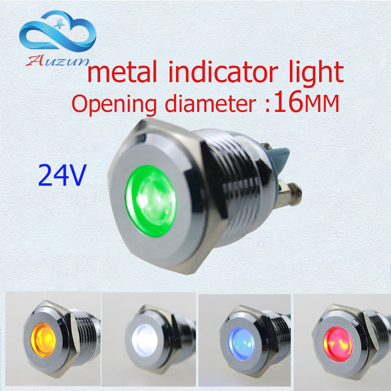 10PCS LED metal lamp 16 mm metal light warning car light 24v waterproof Red green yellow blue and white