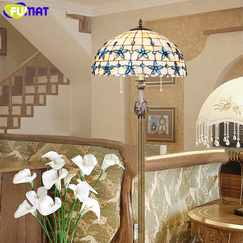 FUMAT Lilac Shell Floor Standing Lamp New European Mediterranean Blue Bedroom Floor Light 16 Inch Living Room Floor Lamp E27 LED