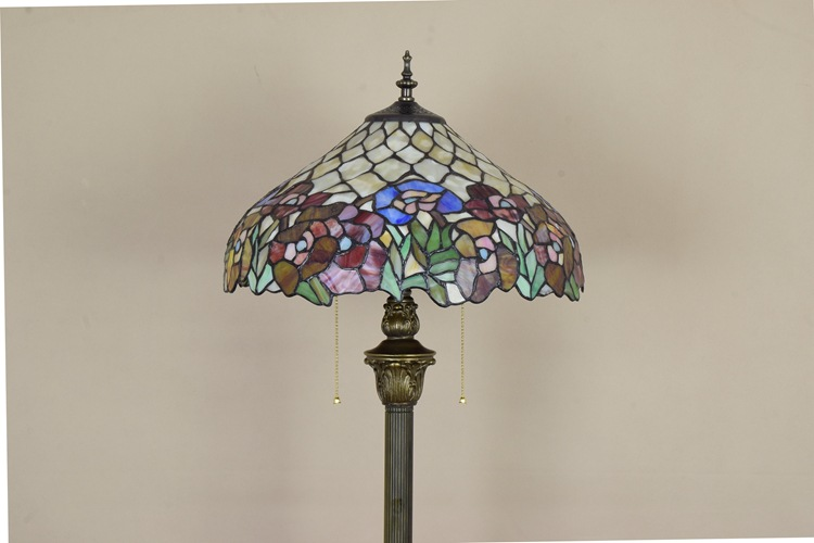 European garden art RETRO Tiffany stained glass dining room bedroom lamp floor lamp zipper switch rose lighting 110-240V E27