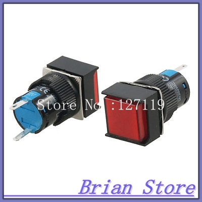 DC 12V Panel Mount Square Red Neon Signal Lamp Indicator Lamp 2 Pcs