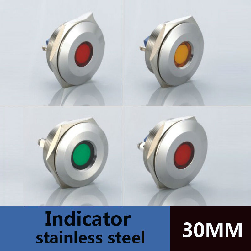5pcs packing 30mm screw type smart 24 volt led indicator lights waterproof IP67 IK10 2pins metal led lamp