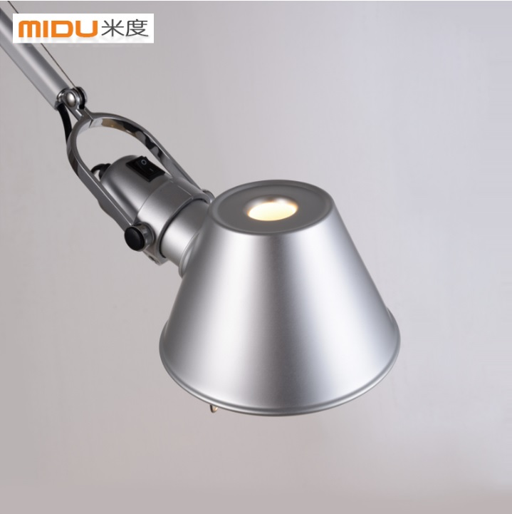 Adjustable Floor Lamp in Satin Nickel Finish with 15cm diameter Metal Shade