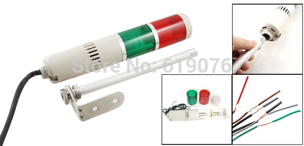 90dB AC110V Red Green Buzzer Sound Industrial Warning Signal Tower Alarm Lamp Alarm Apparatus