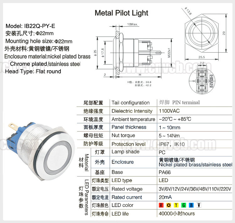 IN114 pilot lamp 220v 22mm waterproof IP67 metal indicator light