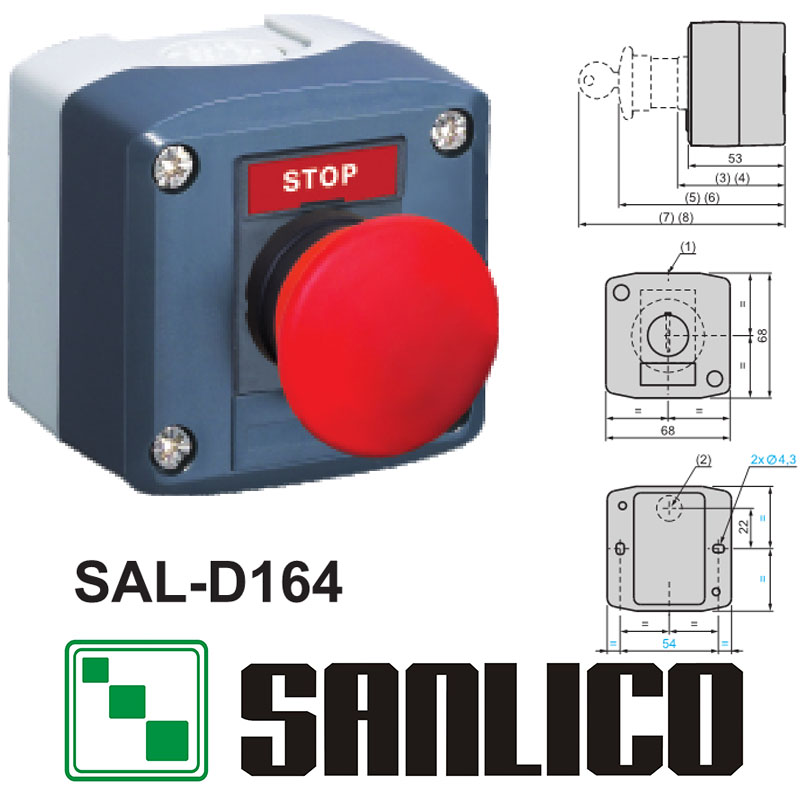 waterproof  control box push button switch station   SAL(LA68H-D XAL)-D164 red emergency stop mushroom  spring return
