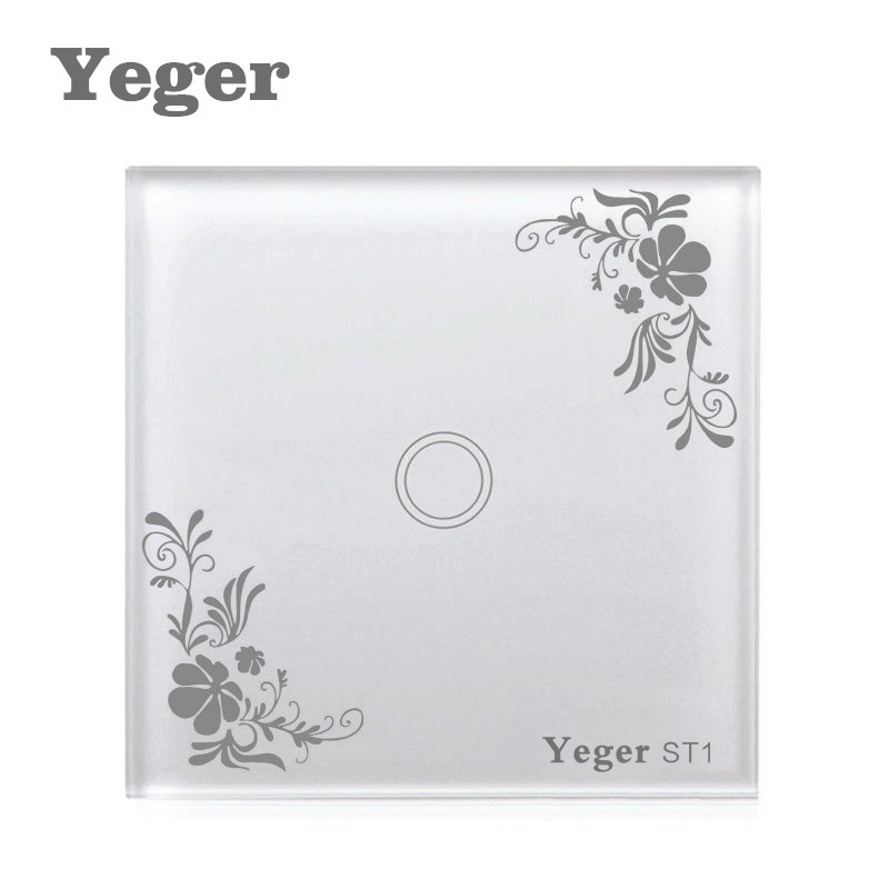Yeger EU/UK Standard 1 Gang 1 Way Light Touch Switch,86x86mm 110V-240V Crystal Glass Panel Switches For Smart Home