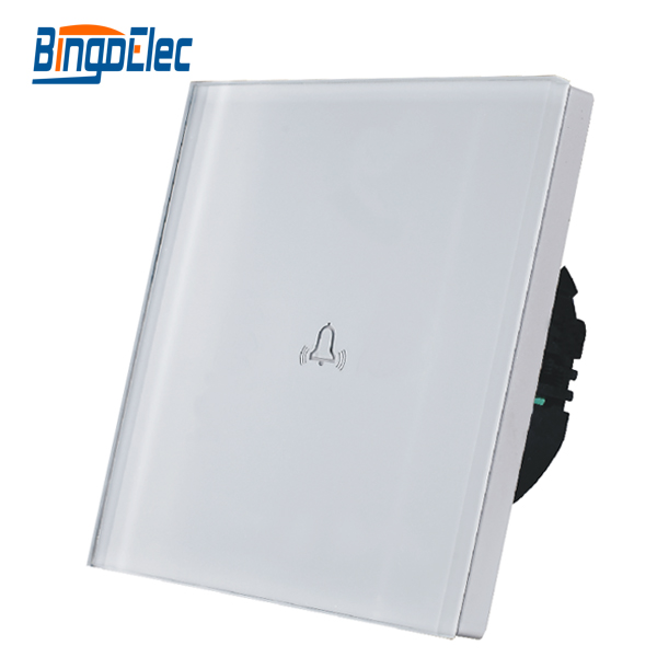EU/UK standard AC110-250V,white toughened glass panel touch doorbell switch  wall bell switch
