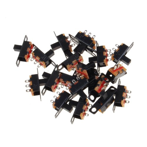MYLB-20pcs 5V 0.3 A Mini Size Black SPDT Slide Switch for Small DIY Power Electronic Projects