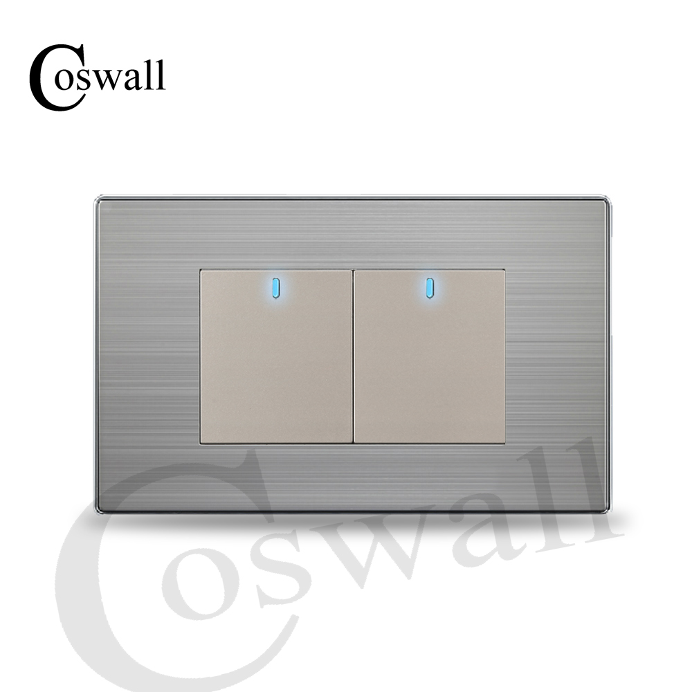 Coswall Us Standard 2 Gang 2 Way Push Button Wall Light Switch With