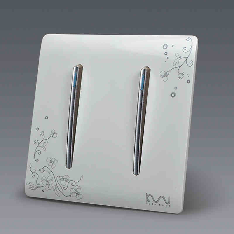 Manufacturer Kempinski Brand Luxury Wall Switch, 2 Gang 1 Way, Ivory White, Brief Art Weave, Light Switch, AC 110~250V