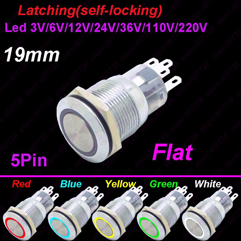 2PCS 19mm 12V Car Blue LED Metal Push Button Toggle Switch Socket Plug