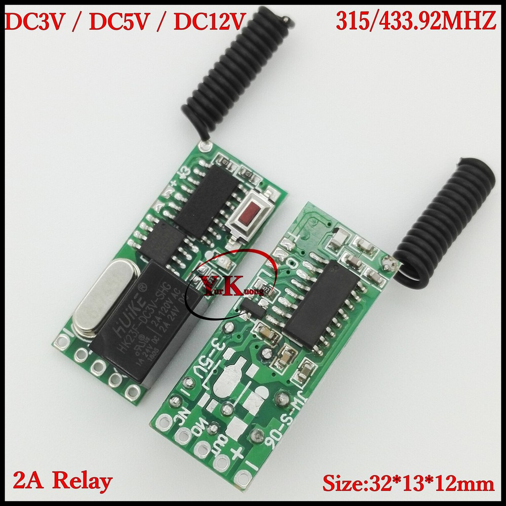 DC12V 2A Relay 1 Channel Way Remote Control Switch LED Buzzer Mini motor Power Wireless Switch Output 0V Switching NO COM NC ASK