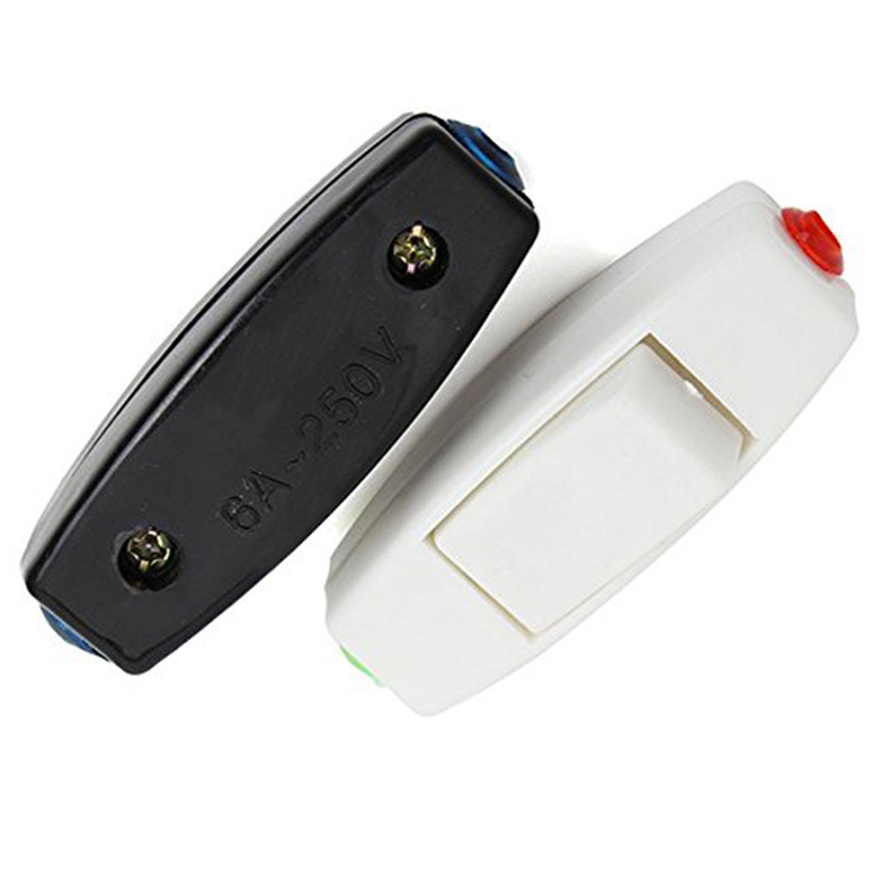 Mayitr Unverisal 6A 250V Inline On/Off Rocker Switch Table Desk Light Lamp Switch for 2 core cable