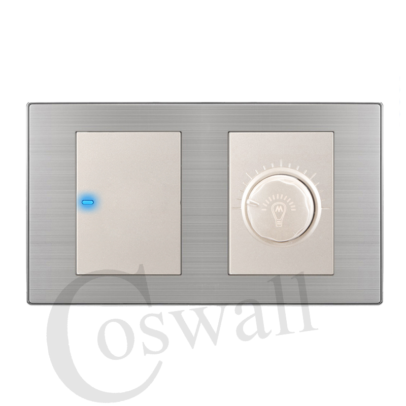 Coswall 1 Gang 1 Way Luxury LED Light Switch Push Button Wall Switch With Dimmer Regulator Stainless Steel Panel 160mm*86mm