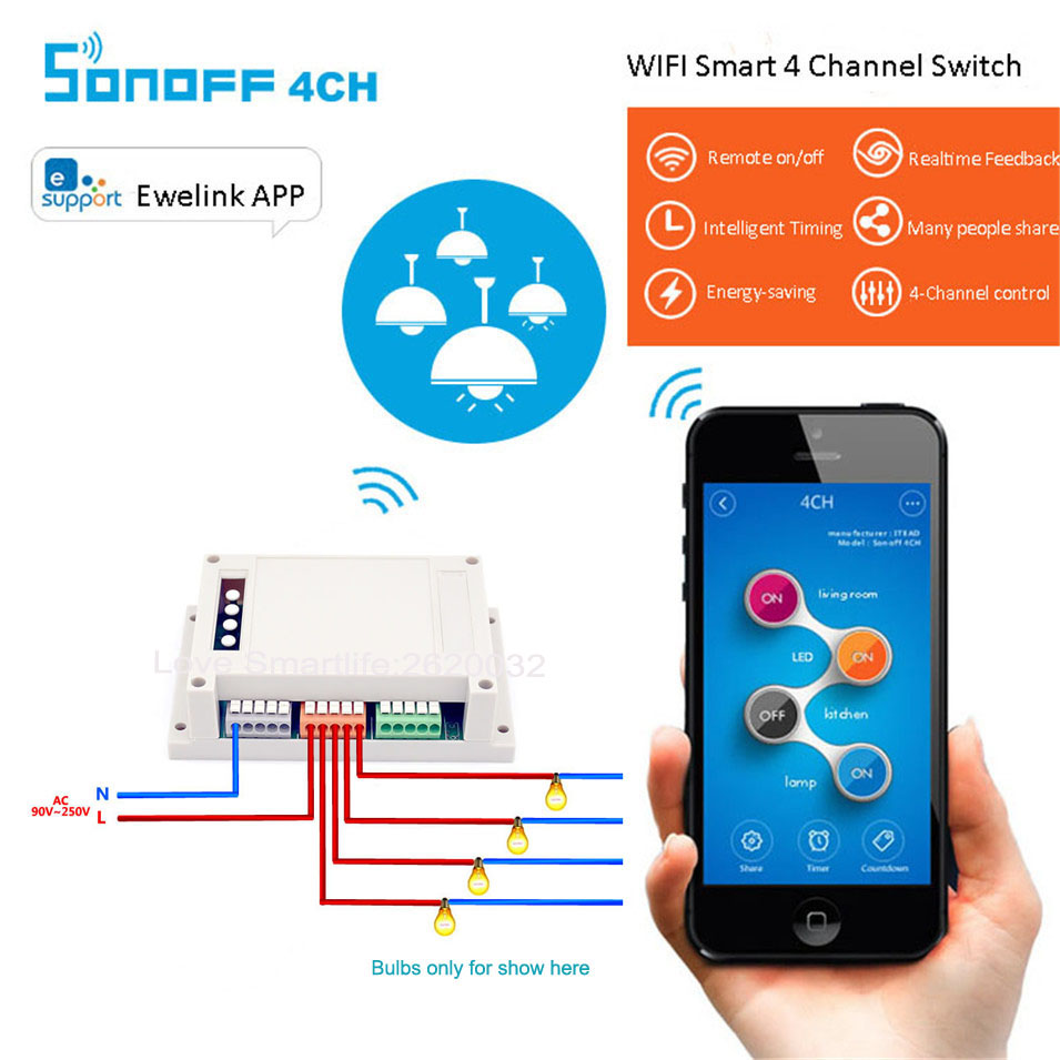 Sonoff 4CH Smart Home WiFi Switch 4 Gang Wireless Switches