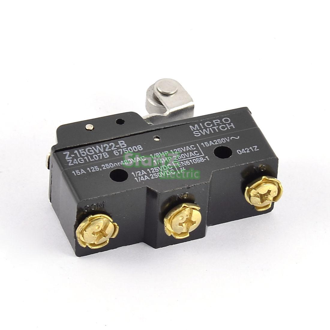 2Pcs  Short Roller Hinge Normally Open/Close Micro Lever Limit Switch  Z-15GW22-B
