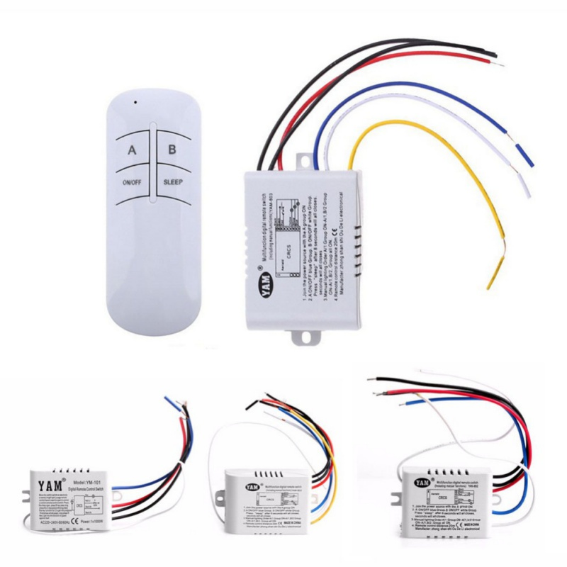 1/2/3 Ways Wireless ON / OFF Lamp Remote Control Switch Receiver Transmitter 220 V