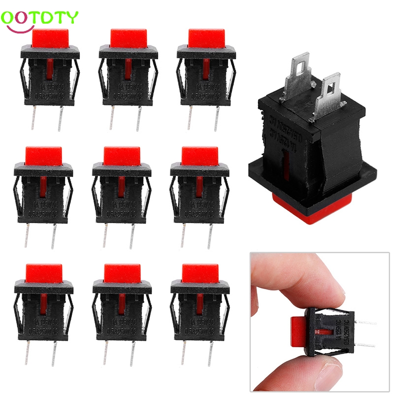 10Pcs Red Square SPST Non-Locking Reset/Self-locking Push Button Switch 125VAC 1A  828 Promotion
