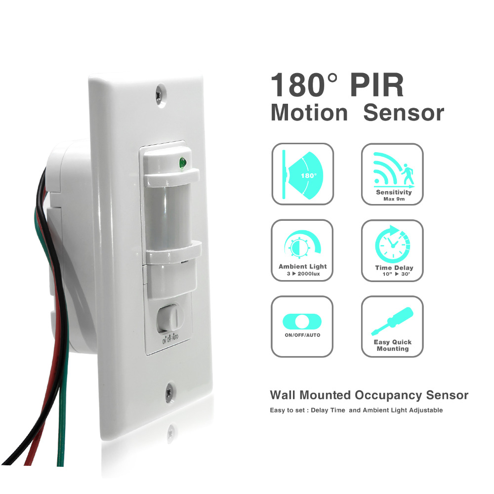 110v 220v Ac Wall Mounted Body Motion Sensor On Off Auto Pir Power Switch With Relay Infrared Proximity For Led