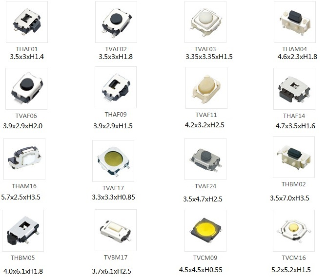 100pcs miniature low profile tact switch snap dome vertical    horizontal light push button