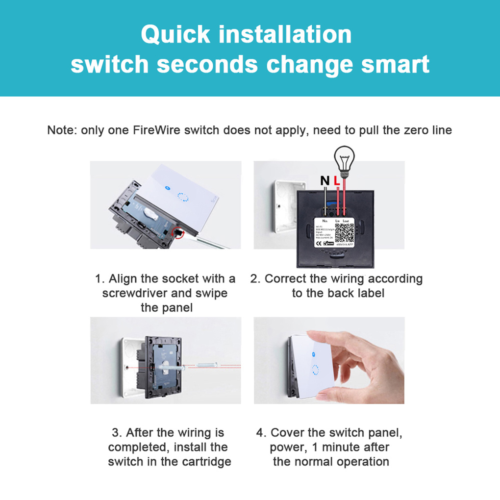 ITEAD Sonoff EU/US Plug Wifi Wireless Touch Remote Control Tempered Glass Switch Panel LED Light Wall Switch