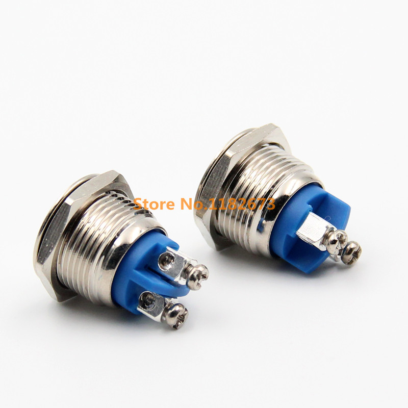 1PCS 16mm 3A/250VAC Anti-Vandal Momentary Steel Metal Push Button Switch Flat Top Quality Car Switch Car-Styling Self Return