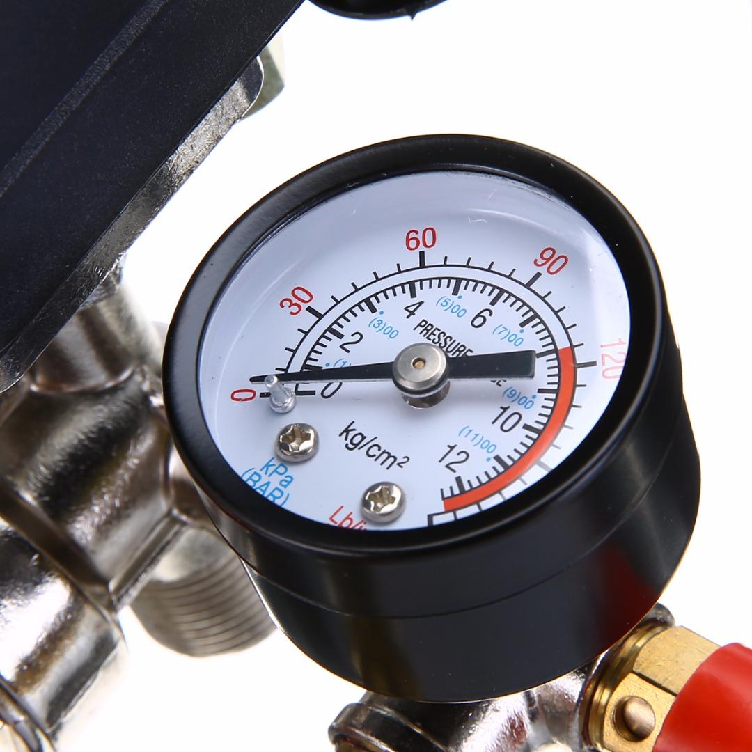 1pc Air Compressor Pressure Valve Switch Manifold Regulator Gauges Gauge Kompressor 90 120psi 82x82x52mm